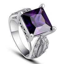 Psiroy Women's Silver Plated 2.5cttw Amethyst Ring