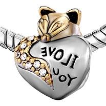 Silver Plated Pugster Cute Fox I Love You Charm Fits Pandora