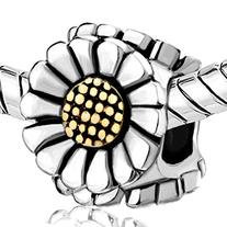 Pugster Silver Plated Sunflower Charm Beads Fit Pandora