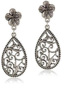 1928 Jewelry Silver-Tone Floral Filigree Teardrop Earrings