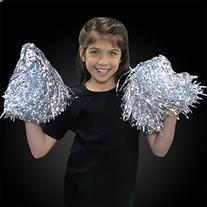 Silver Team Spirit Light Up Pom Poms