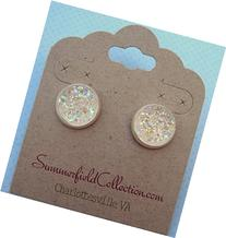 Silver-Tone Stud Earrings 12mm Clear AB Faux Druzy Stone