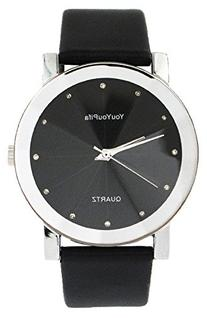YouYouPifa Fashion Simple Design Black Dial Leather Strap
