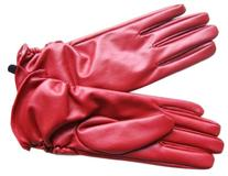 Women Faux Leather Winter Warm Thermal Lining Gloves, Red