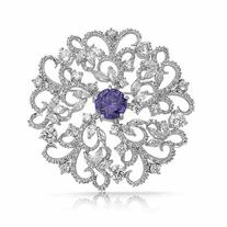 Bling Jewelry Simulated Amethyst CZ Open Swirl Pin Pendant