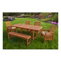 W. Designs Six Piece Acacia Wood Patio Dining Set