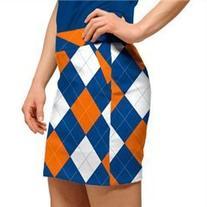 Loudmouth Golf Womens Skorts: Orange & Blue Argyle - Size 8