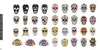 Sugar Skull Nail Decals Assortment #1 Water Slide Nail Art