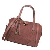 London Fog Handbags Skyler Frame Satchel Nutmeg Ostrich -