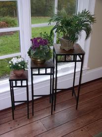 4D Concepts 3-Piece Slate Square Plant Stands with Slate