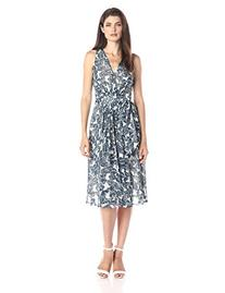 Anne Klein Women's Sleeveless Printed Chiffon V-Neck Midi