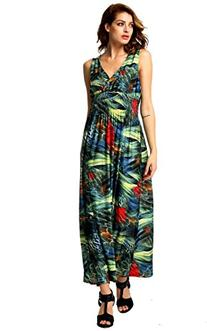ACEVOG Women's Sleeveless V Neck Printed Backless Long Maxi