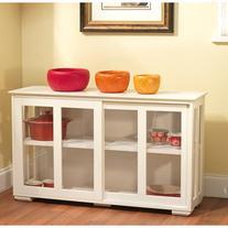 Sliding Tempered Glass Doors Stackable Storage Cabinet,