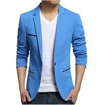 Partiss Mens Slim Fit Casual Suit,X-Large,Light blue