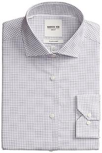 Ben Sherman Men's Slim Fit Dobby Windowpane Spread Collar