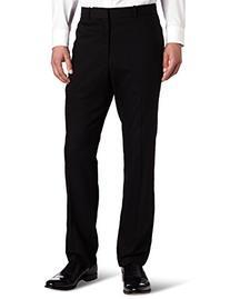 Perry Ellis Men's Solid herringbone Slim Fit Pant, Black,