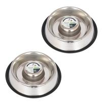 Iconic Pet Slow Feed Stainless Steel Pet Bowl for Dog or Cat
