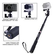 Smatree Extendable Aluminum Selfie Stick/Monopod for GoPro Hero 7/6/5/4/3+/3/Session/GOPRO Hero  /AKASO GeekPro SJCAM SJ4000 SJ5000 Xiaomi Yi Camera/