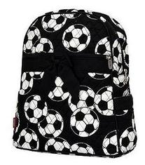Soccer Ball Print Quilted Backpack Black/white