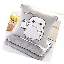 Soft gray big hero 6 Baymax throw pillow & blanket 2 in 1 by