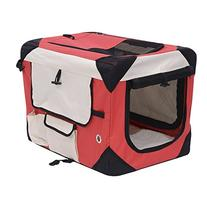 "Pawhut 32"" Soft Sided Folding Crate Pet Carrier - Red"