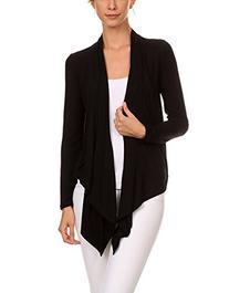 12 Ami Solid Basic Long Drape Open Front Cardigan Black