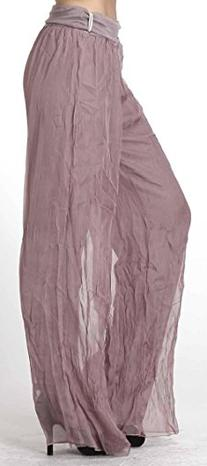 CARAPACE Womens Women's Solid Chiffon Crinkled Pants MAUVE S