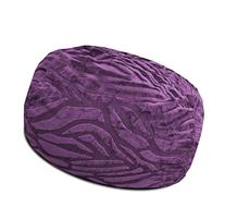 Urban Shop Solid Embossed Zebra Bean Bag, Purple