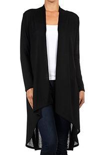 Modern Kiwi Solid Essential Long Cascading Cardigan Black