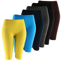 Solid Knee Length Short Spandex Yoga Leggings 6 Pack