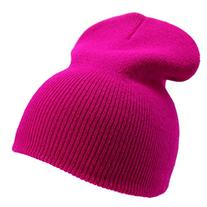 Enimay Solid Color Short Winter Beanie Hat Knit Cap Hot Pink