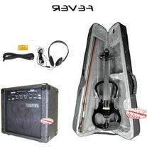 Fever Solid Wood Black Electric Violin with 20 Watts