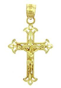 Solid 14k Yellow Gold Cross Charm Fleur-de-Lis Crucifix