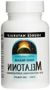 Source Naturals Melatonin 2mg, Time Release, for Occasional Sleeplessness, 240 Tablets