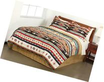Southwest Turquoise Tan Red Native American Queen Comforter Set