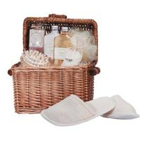 Spa In A Basket Wicker Chest Bath Items Massage Tools
