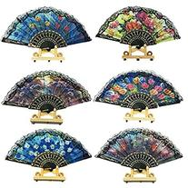 Spanish Floral Folding Hand Fan Flowers Pattern Lace