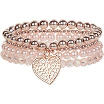 Monsoon 4x Sparkle Filigree Heart Bracelets