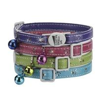 Savvy Tabby Sparkle Paw Cat Collar, 3/8-Inch, Raspberry