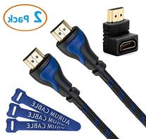 Aurum Cables - High Speed HDMI Cable with Ethernet - 2 Pack