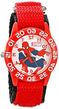 Marvel  Boys' Plastic Case Watch, Red Nylon Strap
