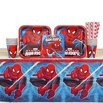 Spiderman Party Pack for 16 Guests: Straws, Plates, Napkins