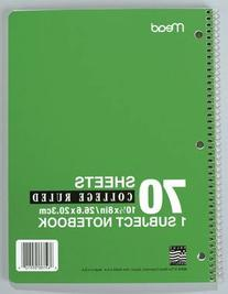 Spiral Bound 1 Subject Notebook  College Rule  5 x 7  White