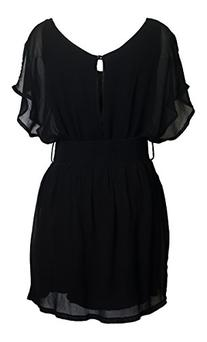 eVogues Plus Size Split Back Chiffon Dress Black - 2X