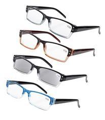 Eyekepper 4-pack Spring Hinges Rectangular Reading Glasses