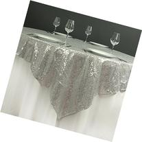 """BalsaCircle 72"""" Square Sequined TABLE OVERLAY Designer"""