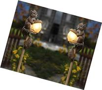 Set of 2 Squirrel Solar Outdoor Garden Stake Lights