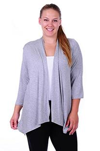SR Women's Plus Size Basic Solid 3/4 Sleeve Open Cardigan ,
