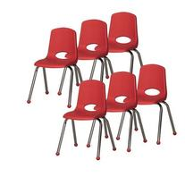 "16"" Plastic Stack Chair with Chrome Legs  Glide: Ball Glide"