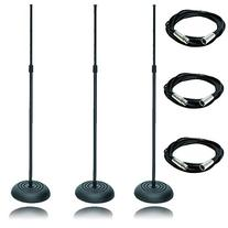 On Stage 3 Pack MS7201B Round Base Microphone Stand Black, with 3 XLR Microphone Cables 20ft